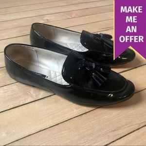 Zara Black Patent Leather Tassel Loafers